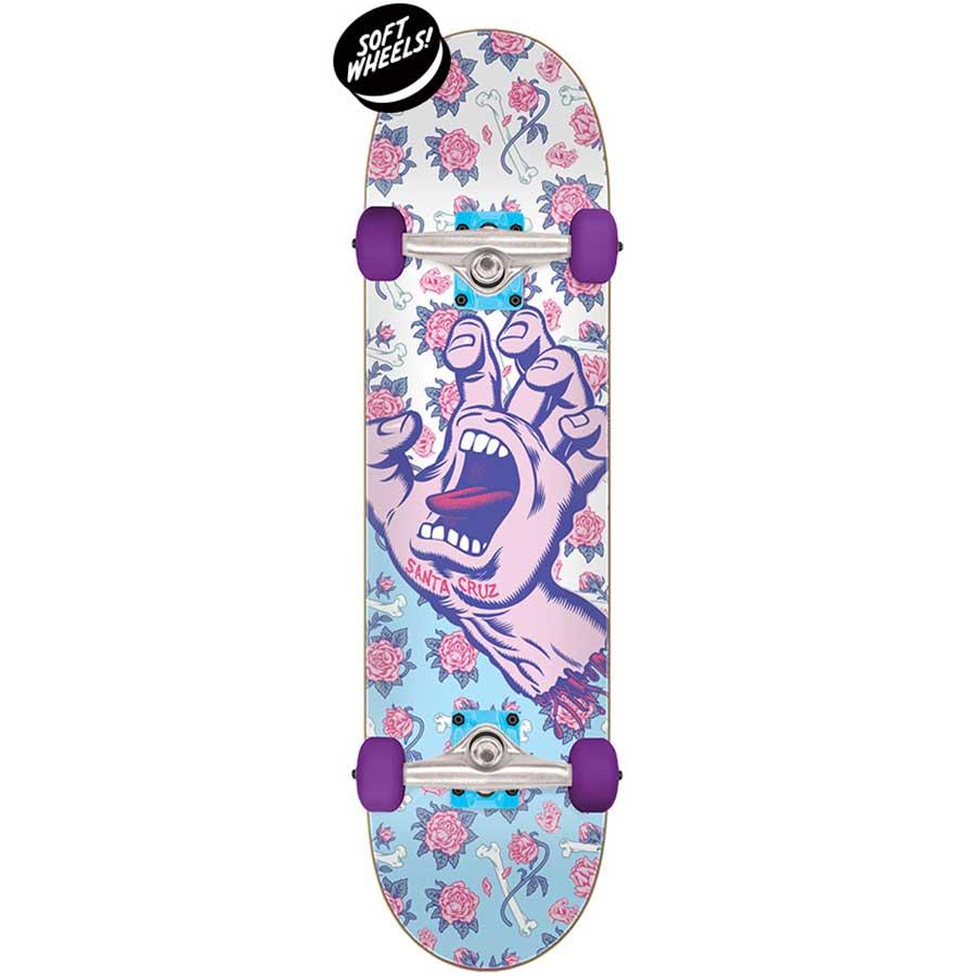 "Floral Decay Hand Mini 7.75/"" Santa Cruz Complete Skateboard"